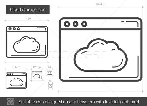 Cloud storage line icon. Stock photo © RAStudio