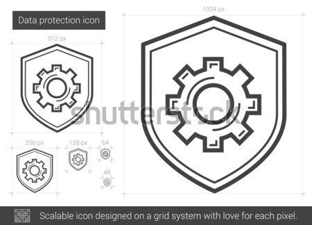 データ保護 行 アイコン ベクトル 孤立した 白 ストックフォト © RAStudio