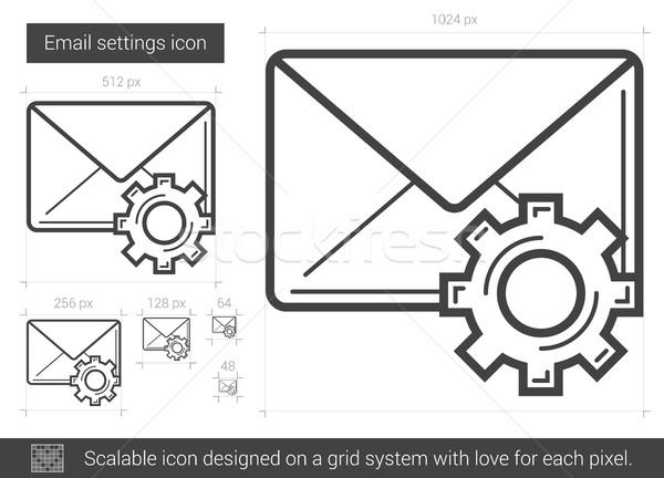 Email beállítások vonal ikon vektor izolált Stock fotó © RAStudio