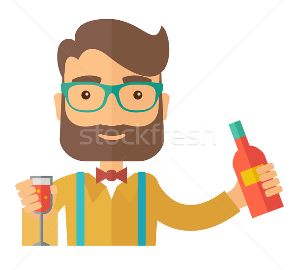 Bartender at the bar holding a drinks. Stock photo © RAStudio