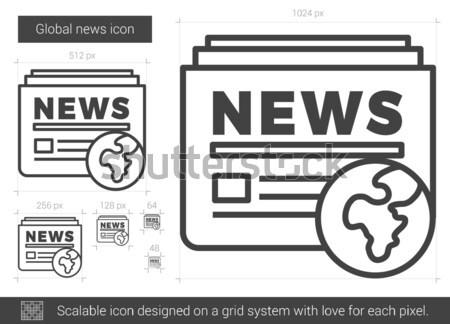Globális hírek vonal ikon vektor izolált Stock fotó © RAStudio