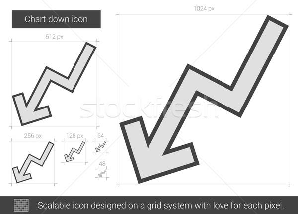 Diagram lefelé vonal ikon vektor izolált Stock fotó © RAStudio