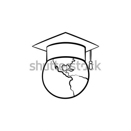 Globe in graduation cap sketch icon. Stock photo © RAStudio