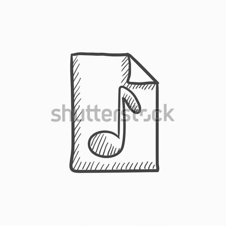 Musical note drawn on sheet sketch icon. Stock photo © RAStudio