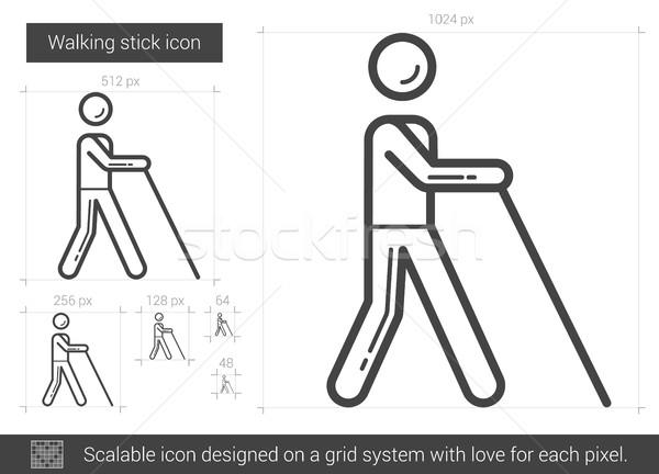 ходьбе Stick линия икона вектора изолированный Сток-фото © RAStudio