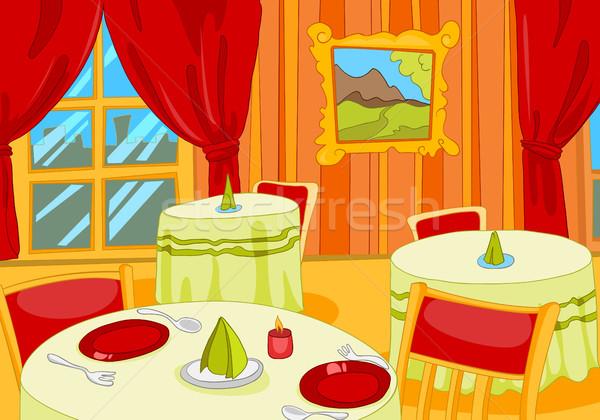 Cartoon restaurante sala interior dibujado a mano lujo Foto stock © RAStudio