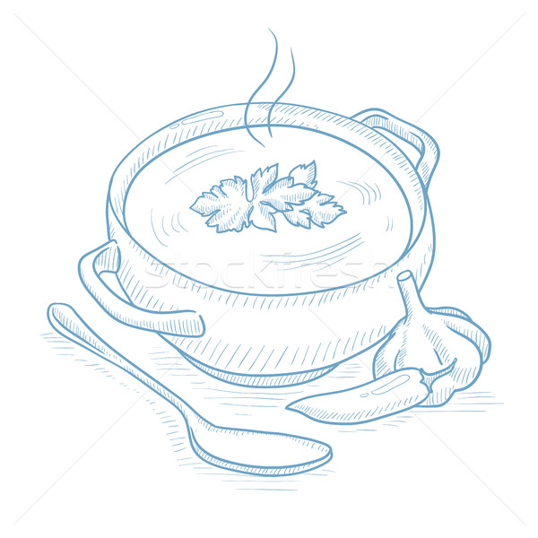 Pot of hot soup. Stock photo © RAStudio
