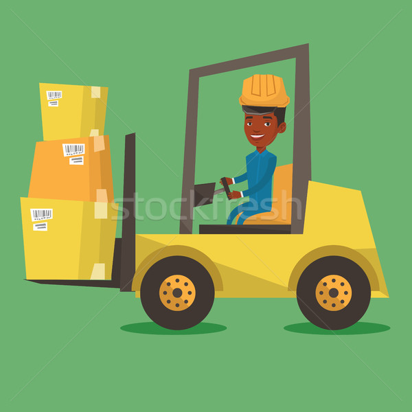 Warehouse worker moving load by forklift truck. Stock photo © RAStudio