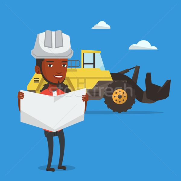Stockfoto: Ingenieur · kijken · blauwdruk · bouwplaats · permanente · graafmachine