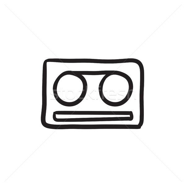 Cassette nastro sketch icona vettore isolato Foto d'archivio © RAStudio