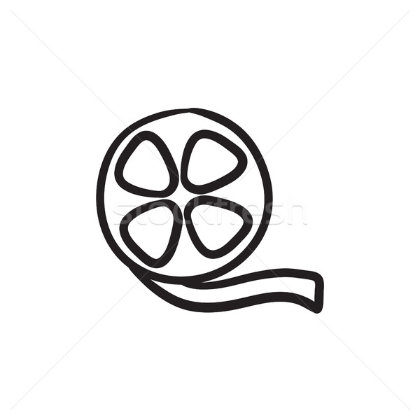 Film reel schets icon vector geïsoleerd Stockfoto © RAStudio
