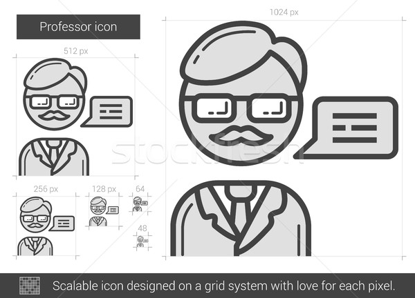 Hoogleraar lijn icon vector geïsoleerd witte Stockfoto © RAStudio