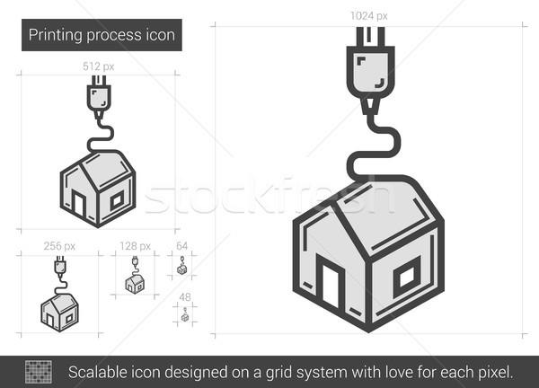 Nyomtatás folyamat vonal ikon vektor izolált Stock fotó © RAStudio