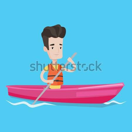 Young happy woman tanning on sailboat. Stock photo © RAStudio
