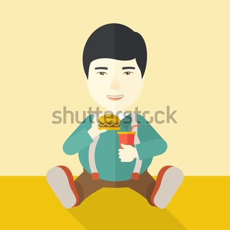 Kadın rahatlatıcı şezlong Asya içme kokteyl Stok fotoğraf © RAStudio