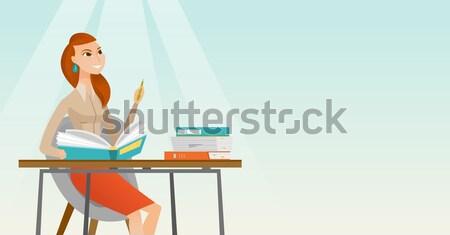 学生 書く デスク 小さな 白人 座って ストックフォト © RAStudio