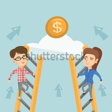 Kettő üzletemberek versenyző pénz kaukázusi versenyképes Stock fotó © RAStudio
