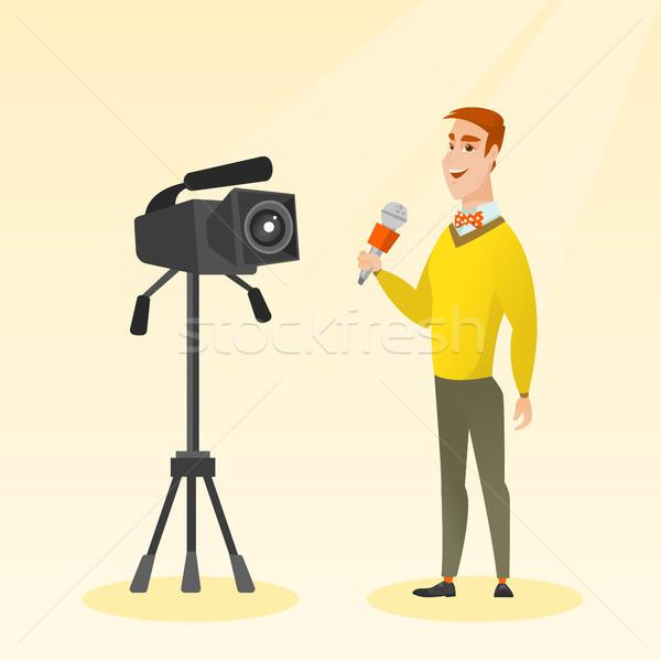 телевизор репортер микрофона камеры кавказский Постоянный Сток-фото © RAStudio