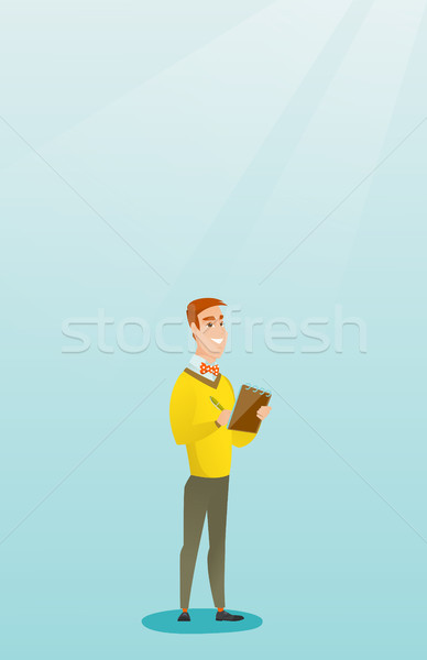 Journalist writing in a notebook with a pencil. Stock photo © RAStudio