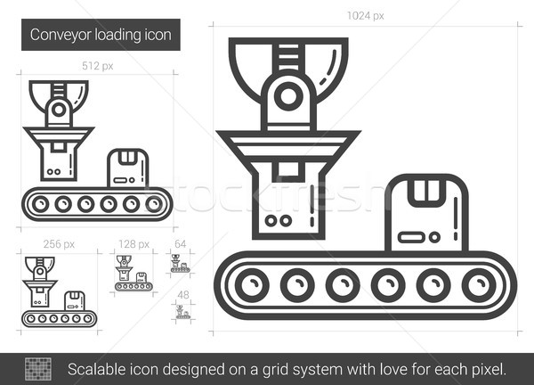 Conveyor loading line icon. Stock photo © RAStudio