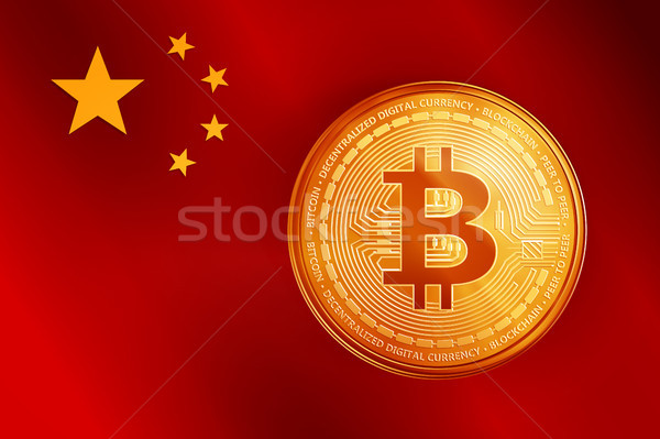 Golden bitcoin coin symbol on the China flag. Stock photo © RAStudio