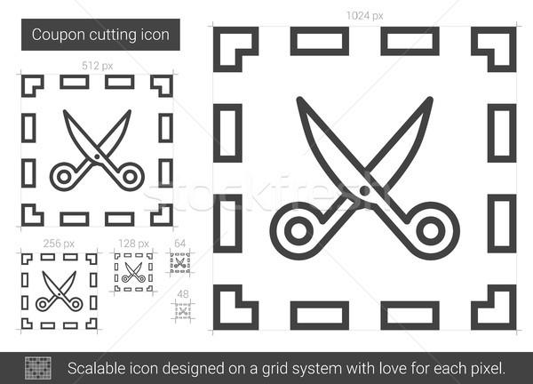 Coupon cutting line icon. Stock photo © RAStudio