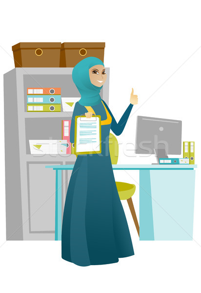 Business woman with clipboard giving thumb up. Stock photo © RAStudio