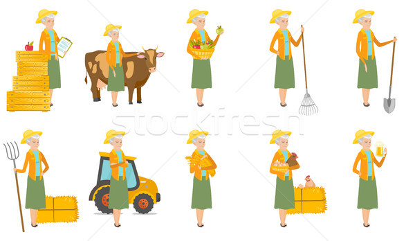 Senior caucasian farmer vector illustrations set. Stock photo © RAStudio