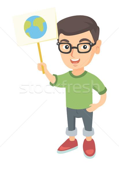 Kaukasisch jongen planeet bril Stockfoto © RAStudio
