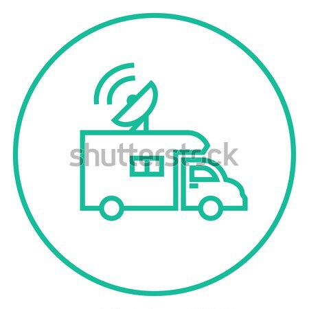 Yayın kamyonet kroki ikon vektör yalıtılmış Stok fotoğraf © RAStudio