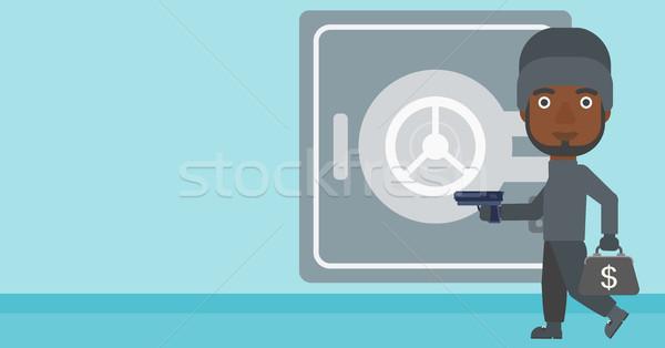 Betörő fegyver széf maszk nagy ajtó Stock fotó © RAStudio