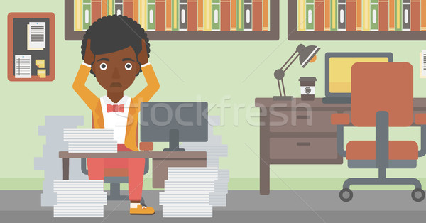 Business woman in despair sitting in office. Stock photo © RAStudio