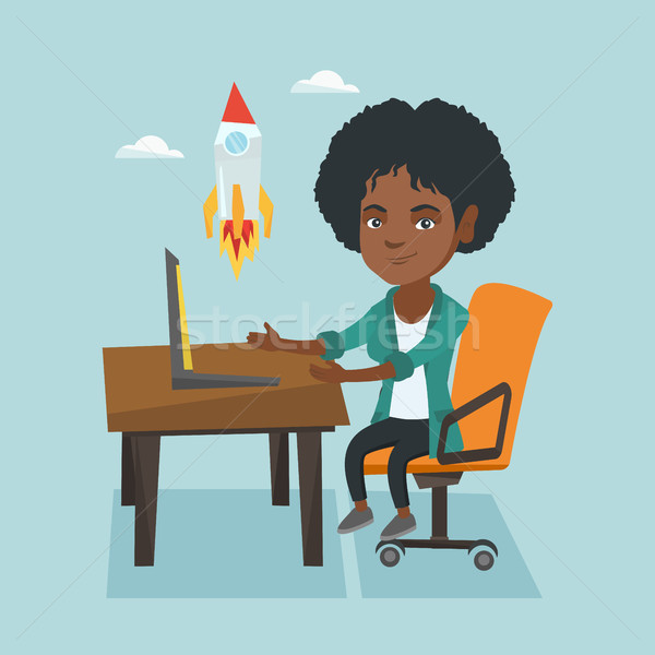 Young business woman working on business start up. Stock photo © RAStudio