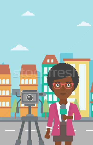Telewizja reporter pracy kamery stałego mikrofon Zdjęcia stock © RAStudio