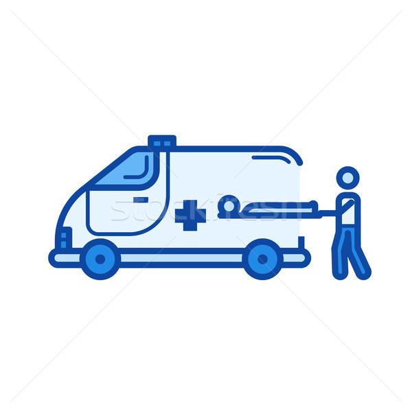 Krankenwagen line Symbol Vektor isoliert weiß Stock foto © RAStudio