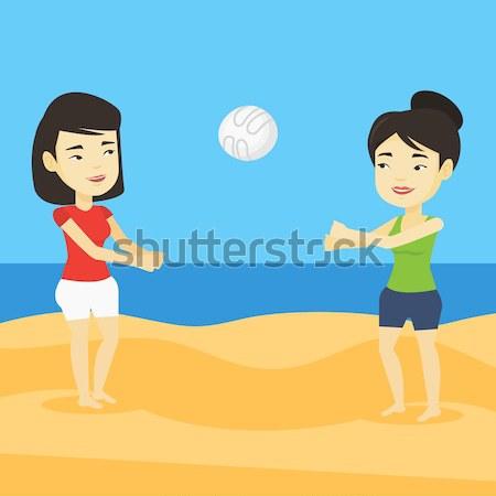 Dwie kobiety gry plaży siatkówka dwa wesoły Zdjęcia stock © RAStudio