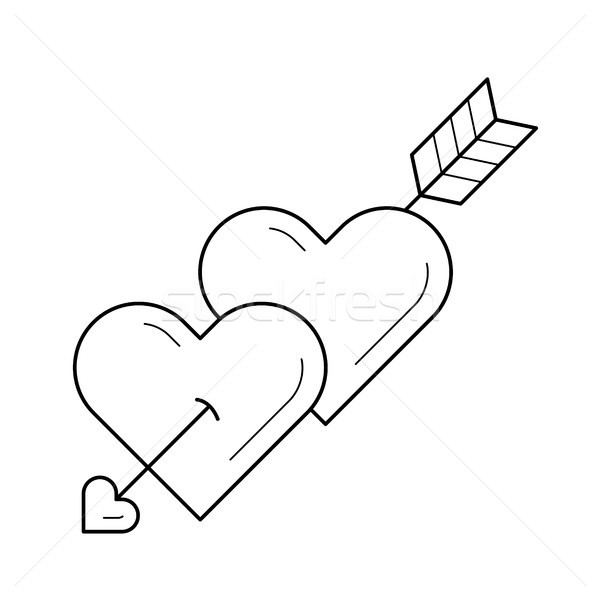 Hearts with cupid arrow vector line icon. Stock photo © RAStudio