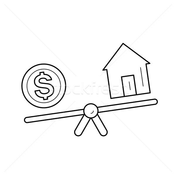 ストックフォト: シーソー · 家 · ドル · コイン · 行 · アイコン