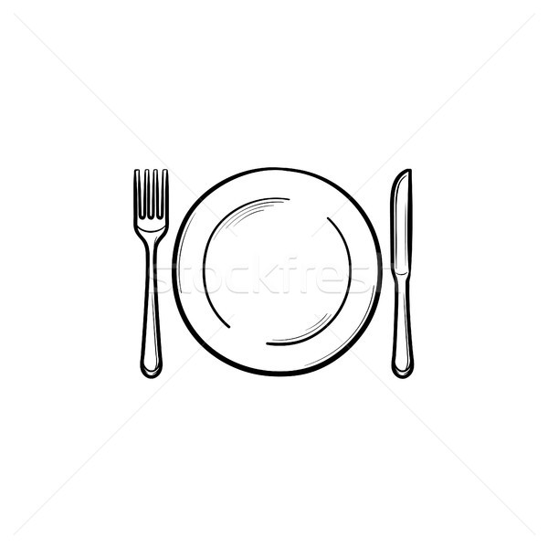 Plate with fork and knife hand drawn sketch icon. Stock photo © RAStudio