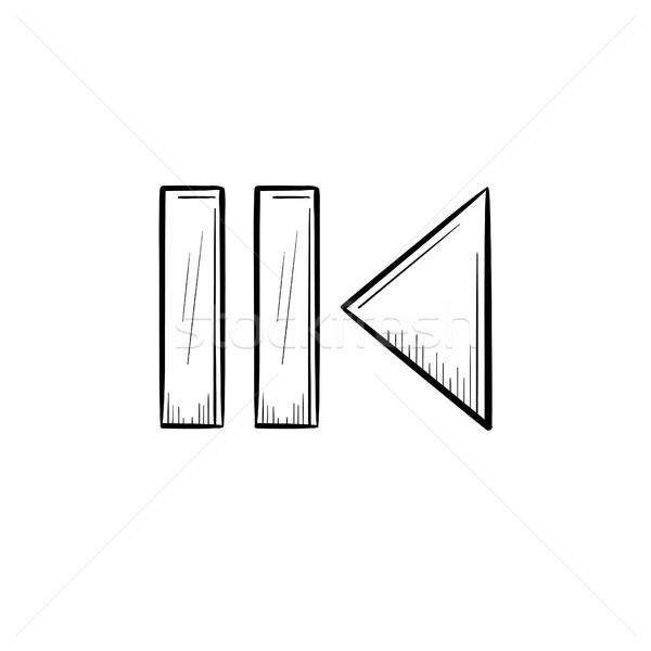 Pause and playback button hand drawn outline doodle icon. Stock photo © RAStudio
