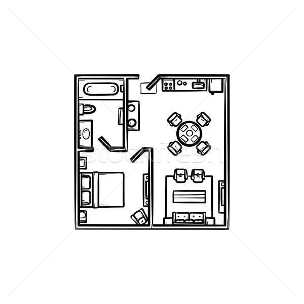 Floor plan with furniture hand drawn outline doodle icon. Stock photo © RAStudio