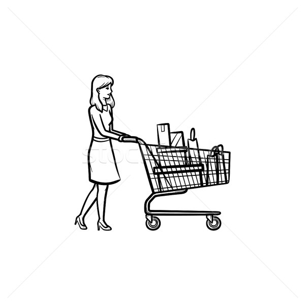 Woman with shopping cart hand drawn outline doodle icon. Stock photo © RAStudio