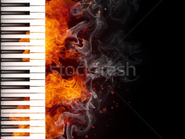 Piyano klavye yangın siyah bilgisayar grafikleri müzik Stok fotoğraf © RAStudio