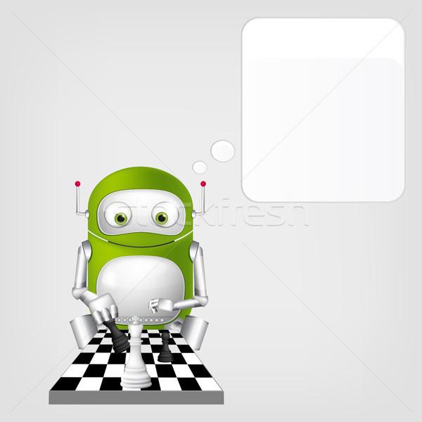 Cute robot aislado gris gradiente Foto stock © RAStudio