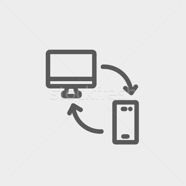 Data transferring from laptop to smartphone thin line icon Stock photo © RAStudio