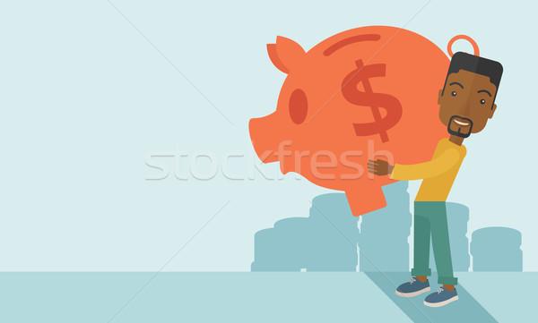 Africaine affaires grand tirelire argent Photo stock © RAStudio