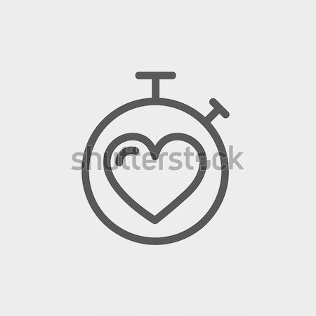 Stock photo: Heart time thin line icon