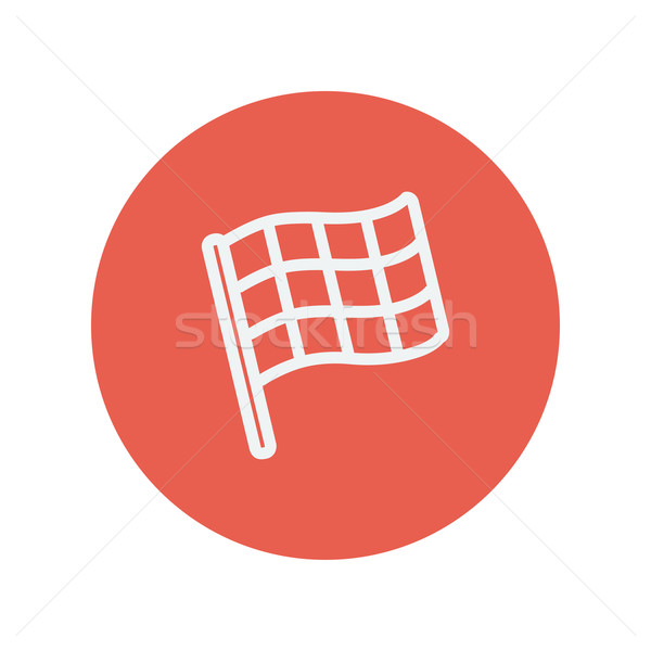 Chekered flag for racing thin line icon Stock photo © RAStudio