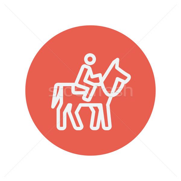 Ló verseny verseny vékony vonal ikon Stock fotó © RAStudio
