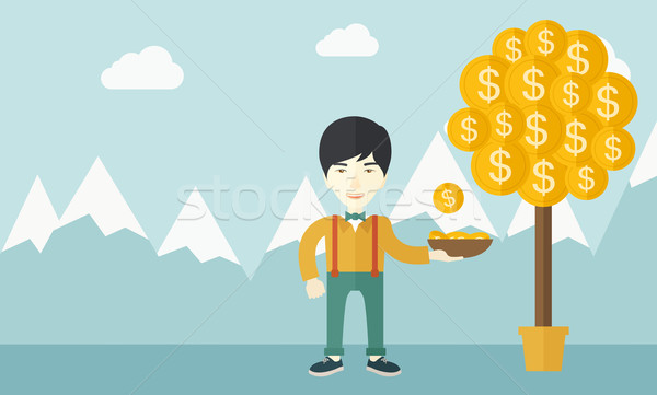Successful chinese businessman standing while catching a dollar coin. Stock photo © RAStudio